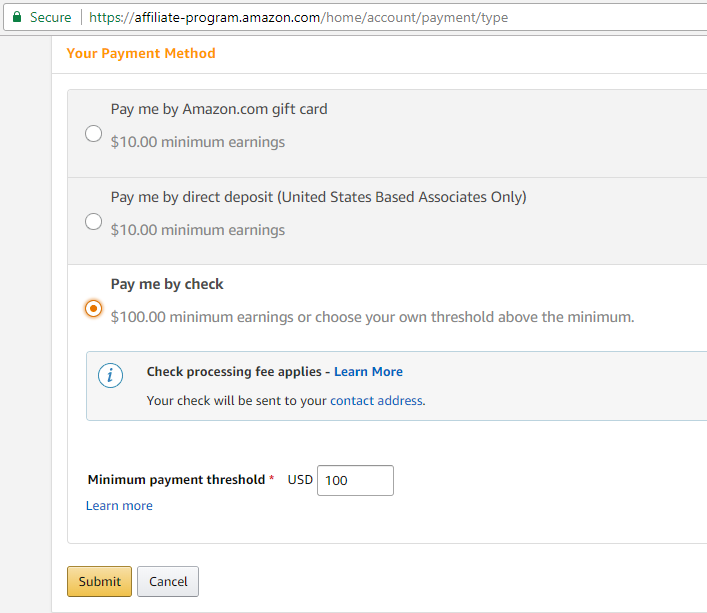 Amazon Associates Payment Options